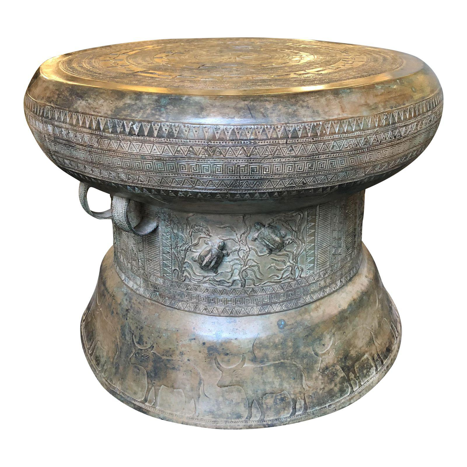 Laotian Rain Drum Side Table Original Price 2 378