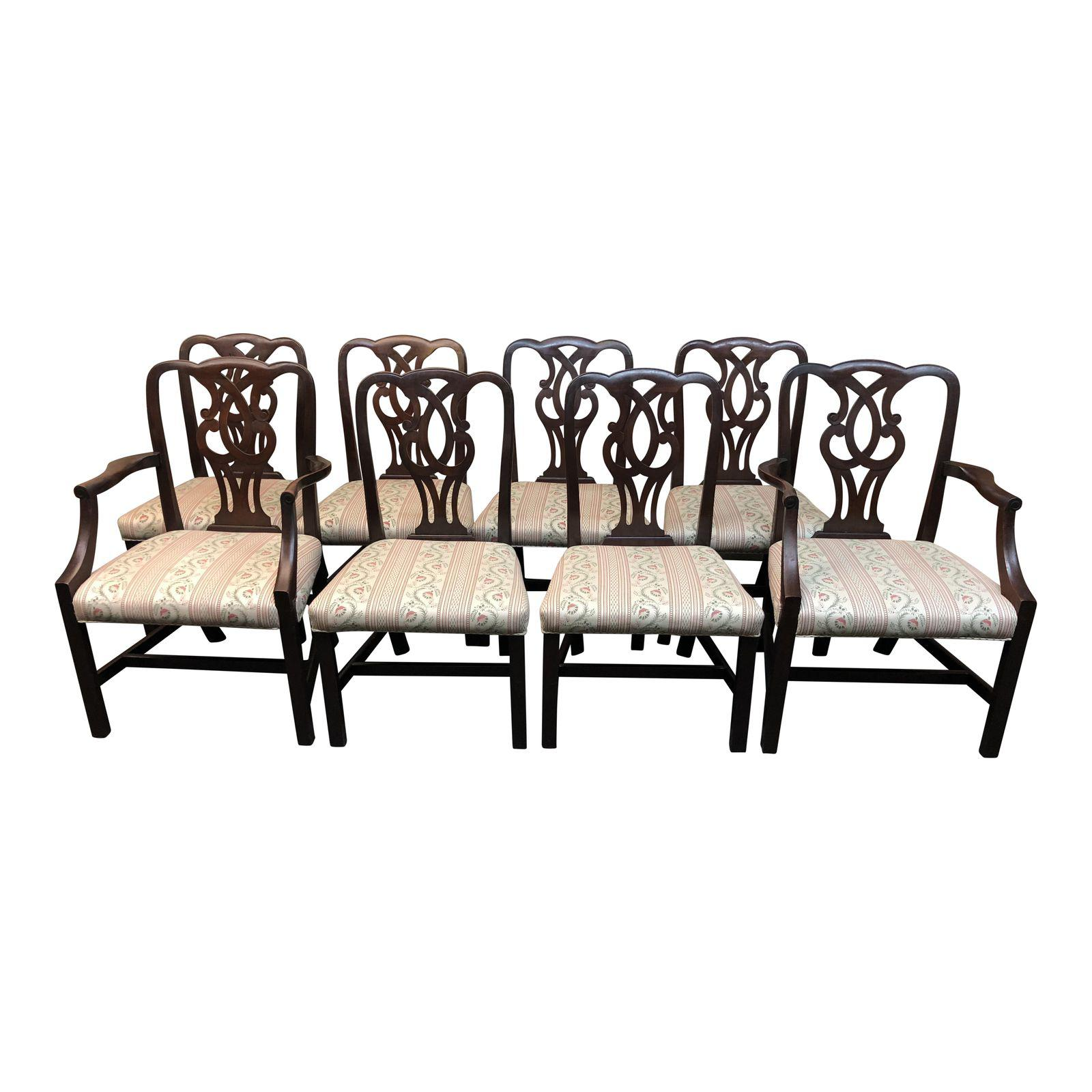 Mahogany Chippendale Style Dining Chairs - Set of 8 - Design Plus Gallery  sc 1 st  Design Plus Consignment : mahogany chippendale dining chairs - Cheerinfomania.Com
