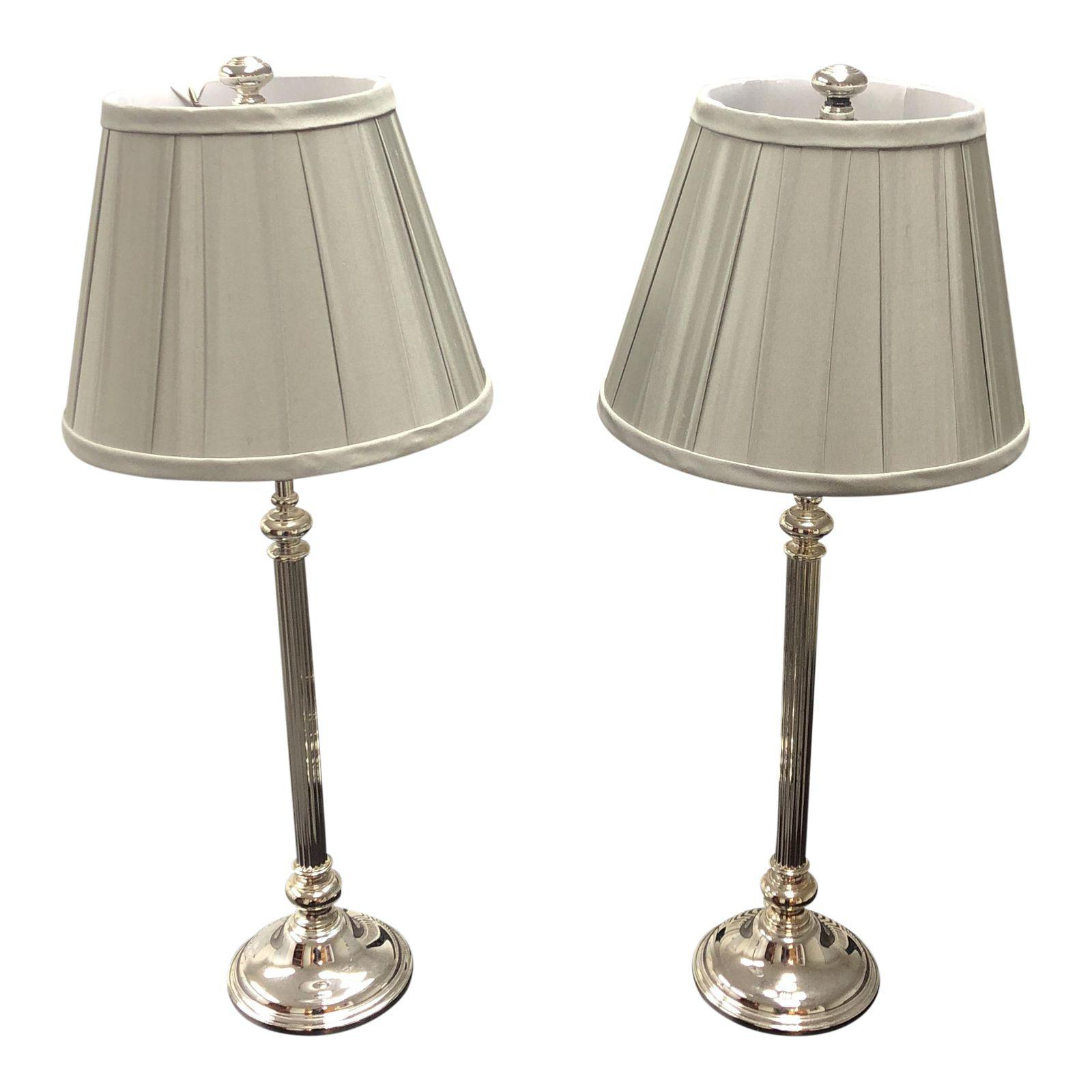 Restoration Hardware Chrome Table Lamps Shades A Pair