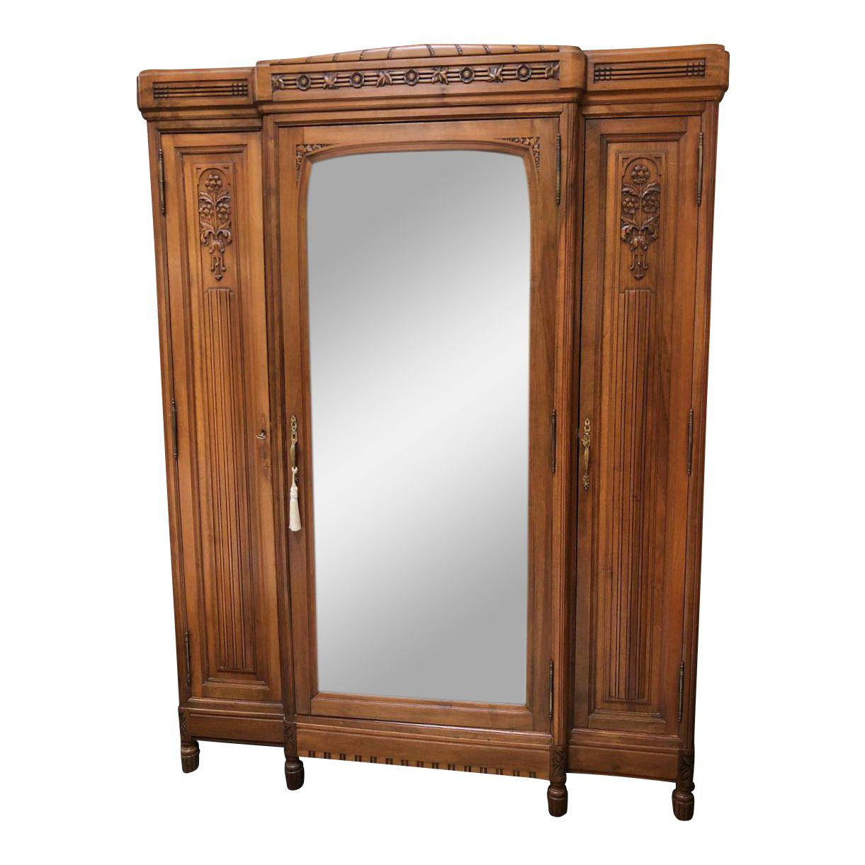 vintage english walnut three door armoire with mirror. Black Bedroom Furniture Sets. Home Design Ideas