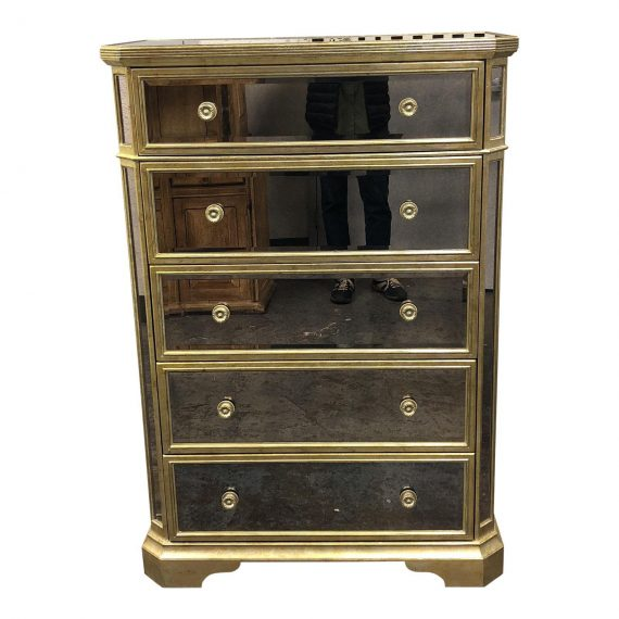 Z Gallerie Borghese Mirrored 5 Drawer Chest Design Plus