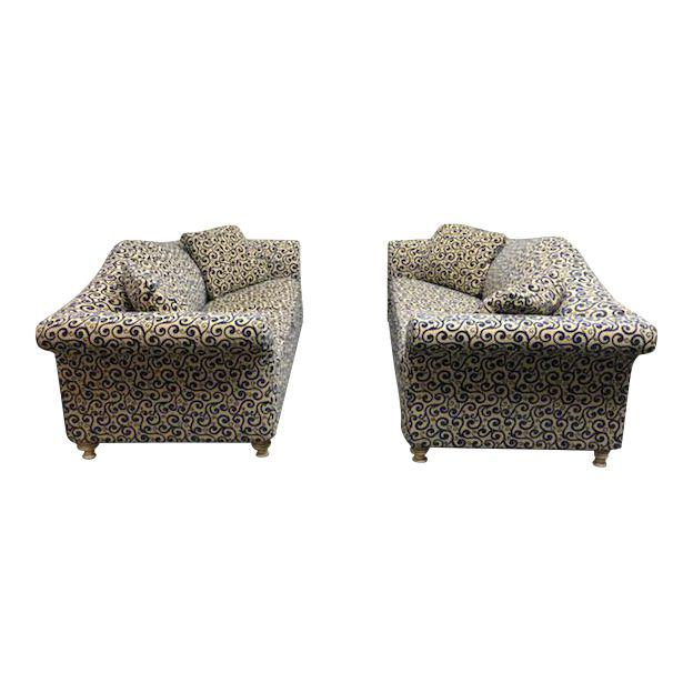 Contemporary Cream Blue Patterned Sofas A Pair 4251