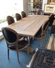 restoration-hardware-salvaged-trestle-extension-table-with-eight-vintage-french-round-dining-chairs-6002