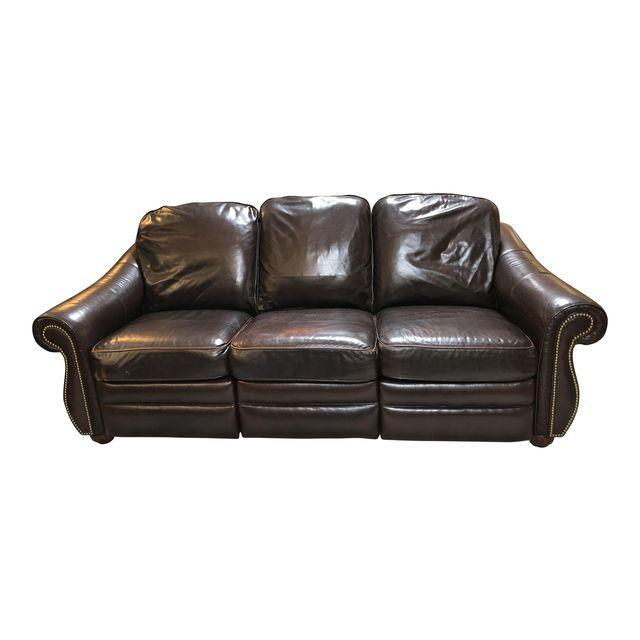 Bradington Young Brown Leather Double Recliner Sofa Original Price