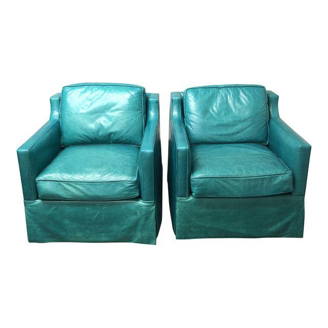 Contemporary Custom Turquoise Leather Swival Arm Chairs A