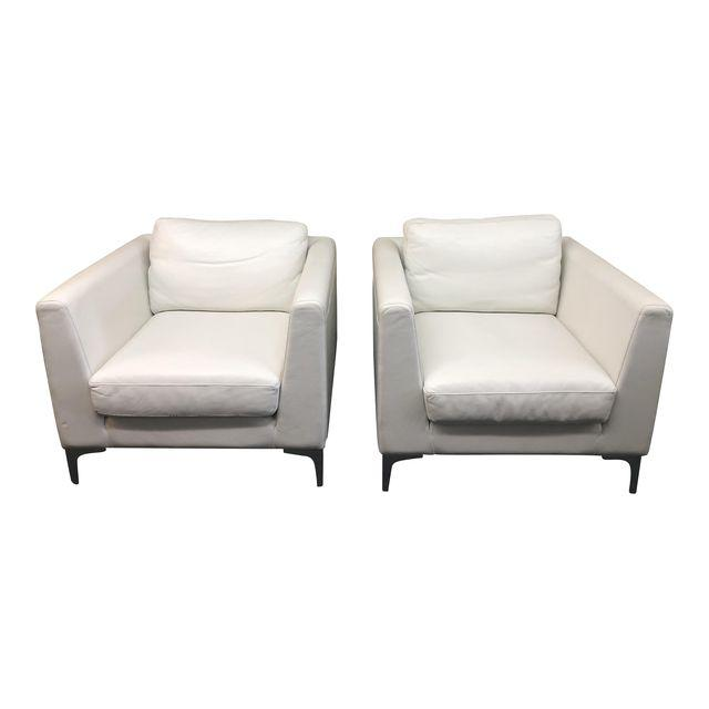 Surprising Pair Of American Leather Albert White Leather Arm Chairs For Creativecarmelina Interior Chair Design Creativecarmelinacom