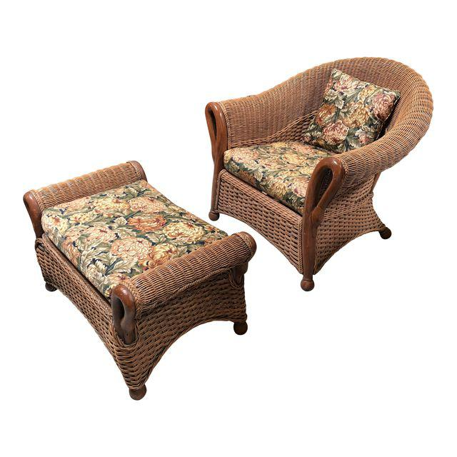 Traditional Tommy Bahama Wicker And Fabric Arm Chair And