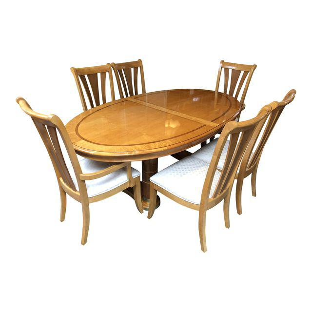 Transitional Stanley Furniture Birds Eye Maple And Walnut Inlay Dining Set    7 Pieces   Design Plus Gallery