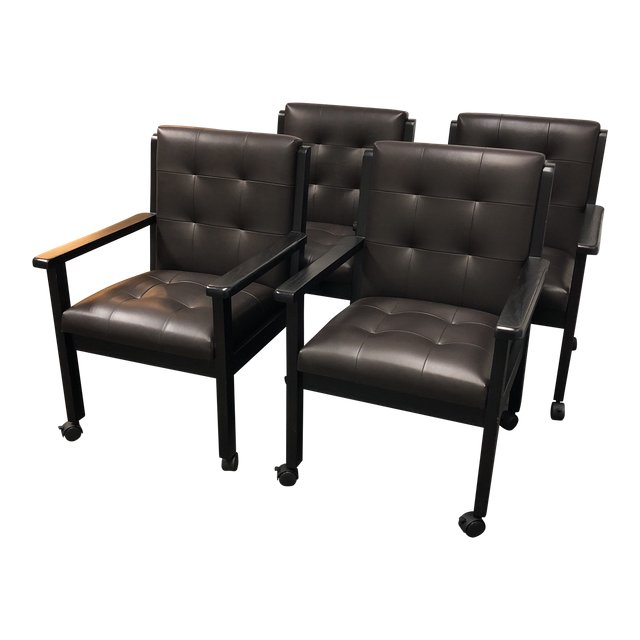 Magnificent 1970S Mid Century Modern Brown Leather And Oak Dining Chairs Short Links Chair Design For Home Short Linksinfo