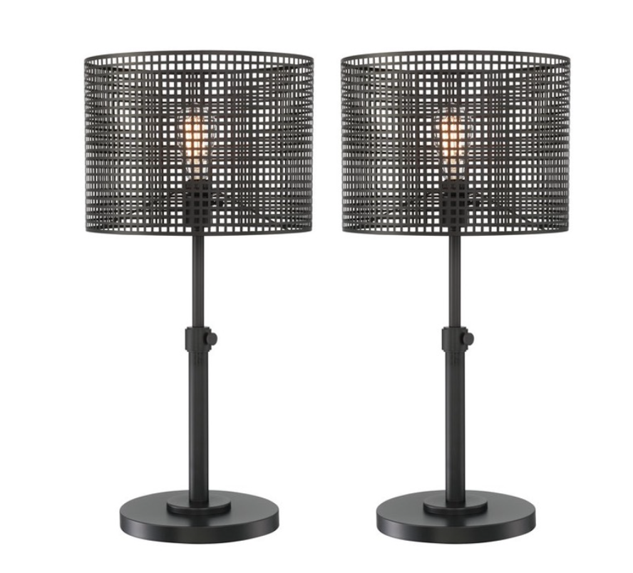 Industrial Trent Austin Elle Wrought Iron Table Lamps A Pair