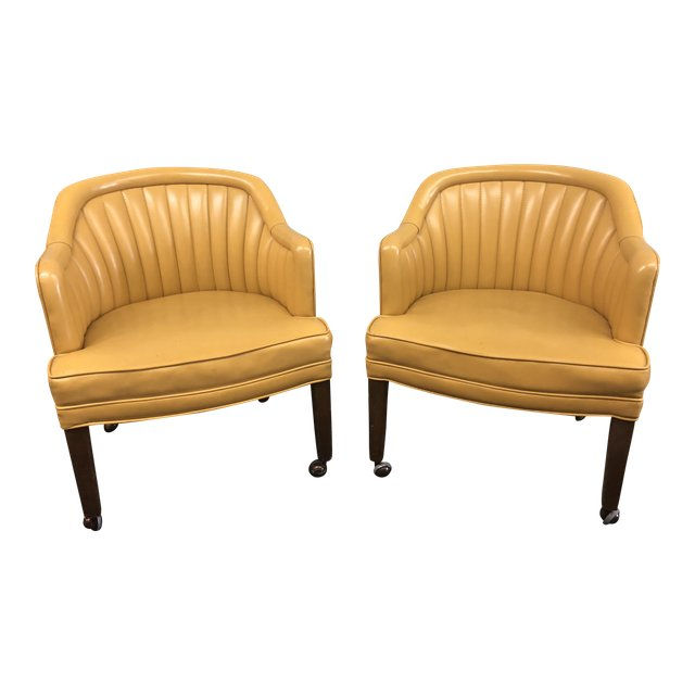 Mid Century Modern Naugahide Barrel Chairs   A Pair   Design Plus Gallery