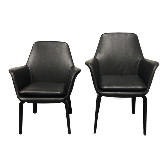 Minotti York Lounge Leather Chairs   A Pair. Original Price: $7,600    Design Plus Gallery