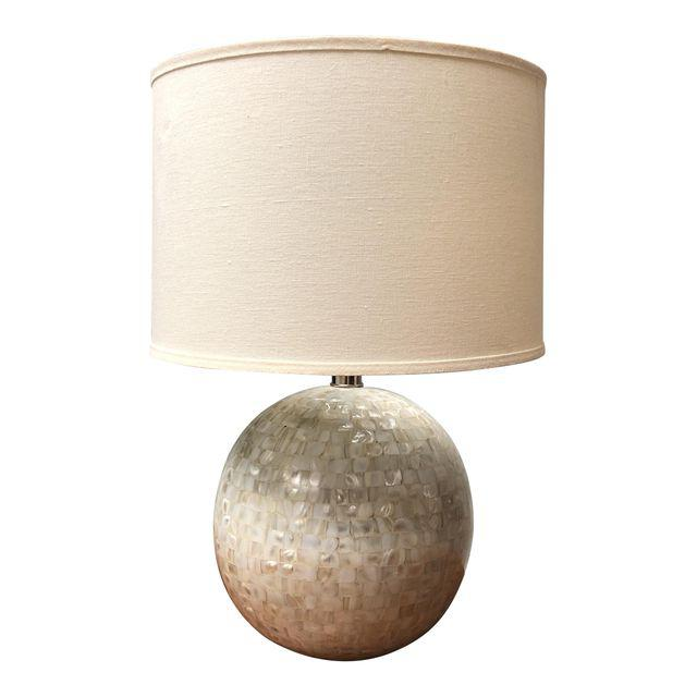 Pottery Barn Jolie Lamp: Pottery Barn Jolie Mother-Of-Pearl Round Lamp Base