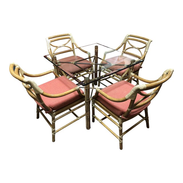 Regency Mcguire Bamboo Dining Table 4 Armchairs 5 Piece Set 2549