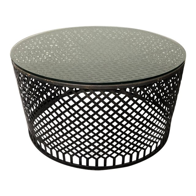 Round Metal Base Glass Top Drum Coffee Table. SOLD!