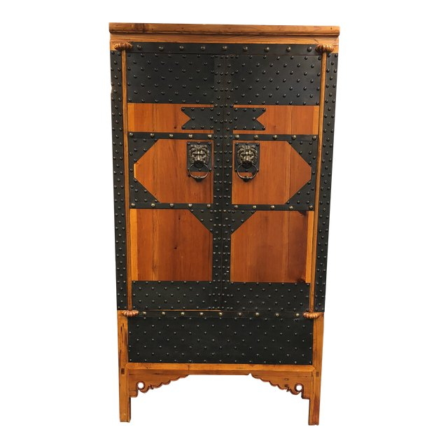 Vintage Wood & Iron Metal Work Armoire - Design Plus Gallery