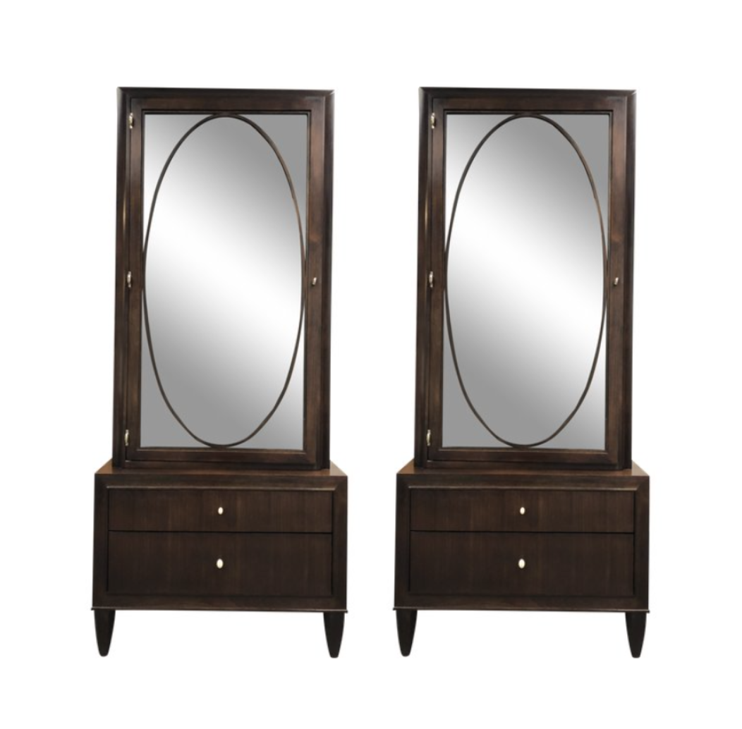 Pair Of Barbara Barry Looking Glass Cabinet By Henredon. Original Price:  $21,654.00