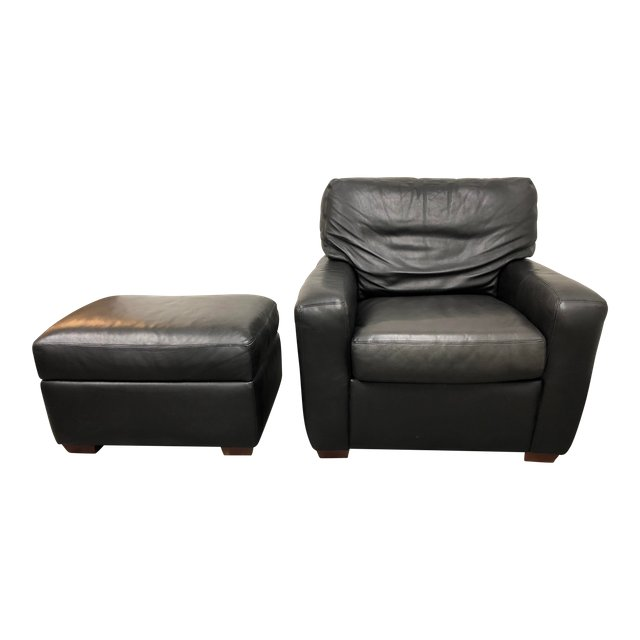 American Leather Chair and Storage Ottoman u2013 2 Pieces  sc 1 st  Design Plus Consignment & American Leather Chair and Storage Ottoman - 2 Pieces - Design Plus ...