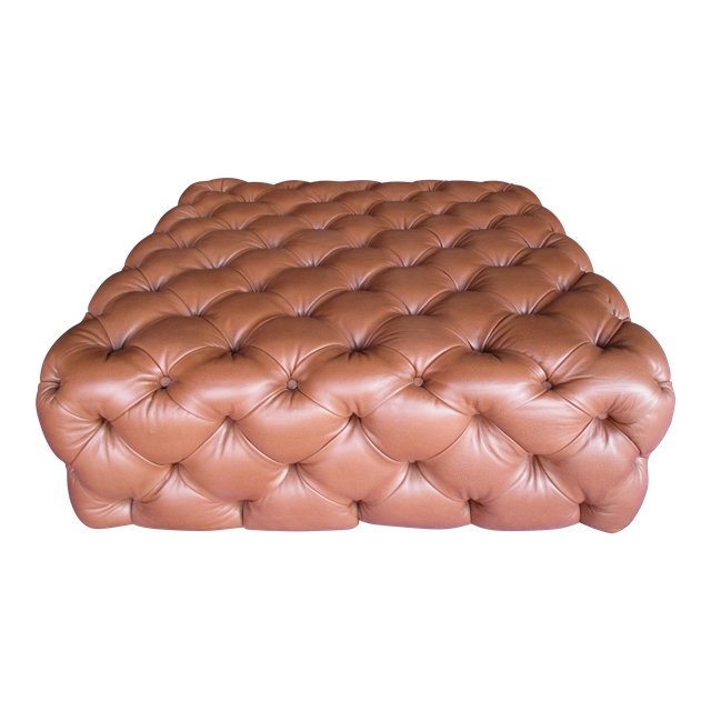 Oversized Tufted Leather Ottoman 1272