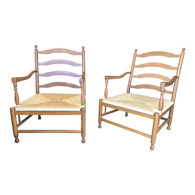 Traditional Ladder Back Rush Chairs A Pair 0580
