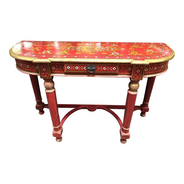 Pleasant Vintage Asian Red Hand Painted Console Table Design Plus Home Interior And Landscaping Dextoversignezvosmurscom