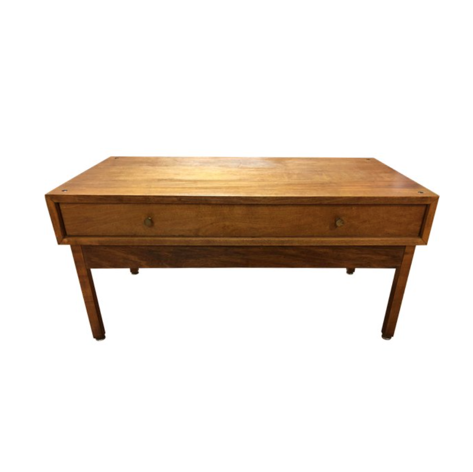 Mid Century Modern One Drawer Wood Coffee Table