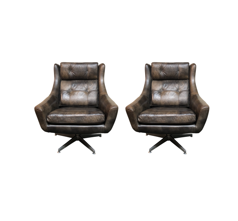 A Shapely Swivel Seat Inspired By Mid Century Design Our: Mid-Century Modern Restoration Hardware Motorcity Leather