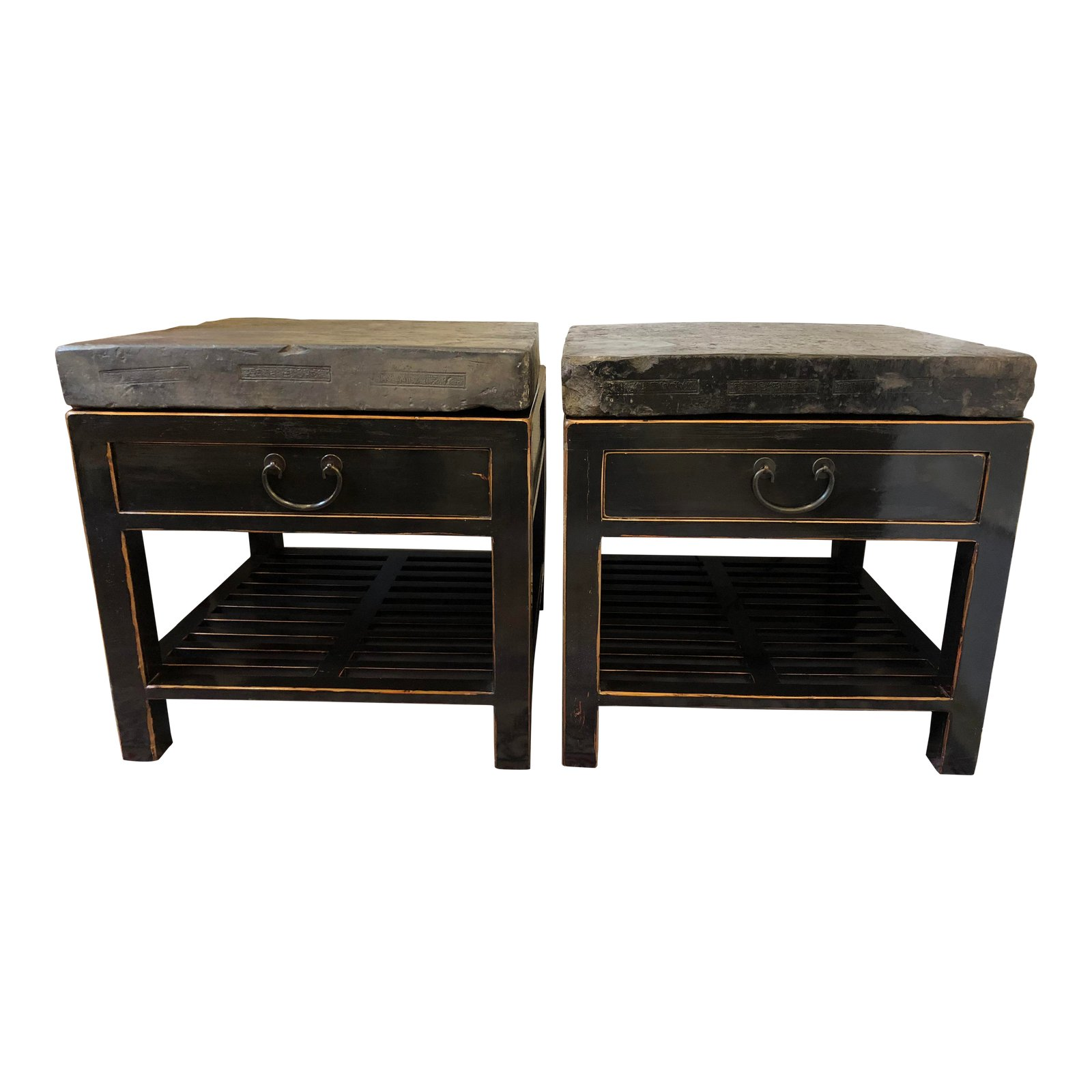 Chinese Stone Top Side Tables A Pair