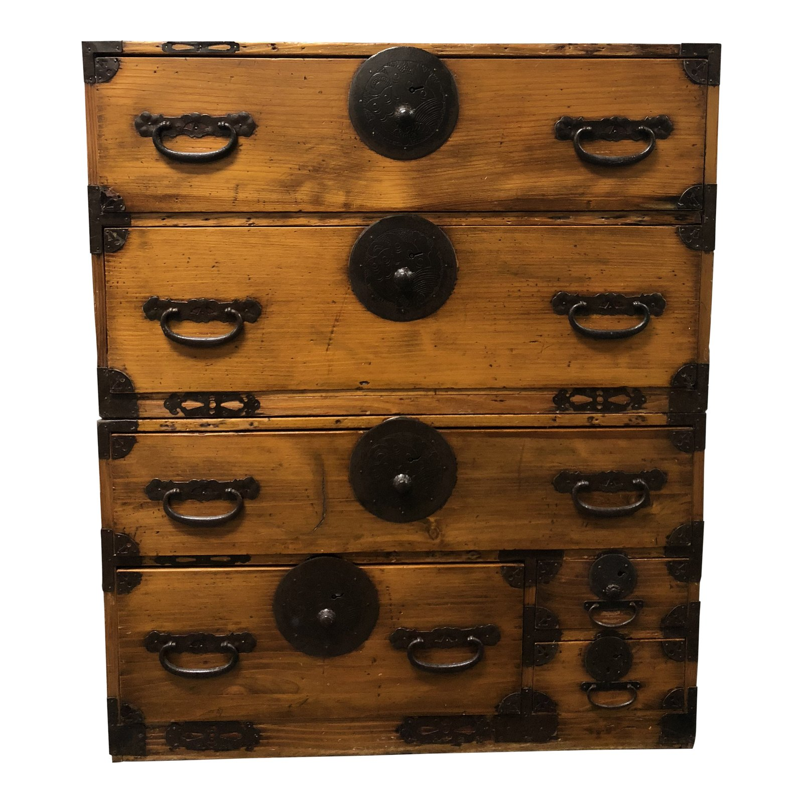 Early 20th Century Antique Japanese Wood + Metal Tansu Two Piece Cabinet