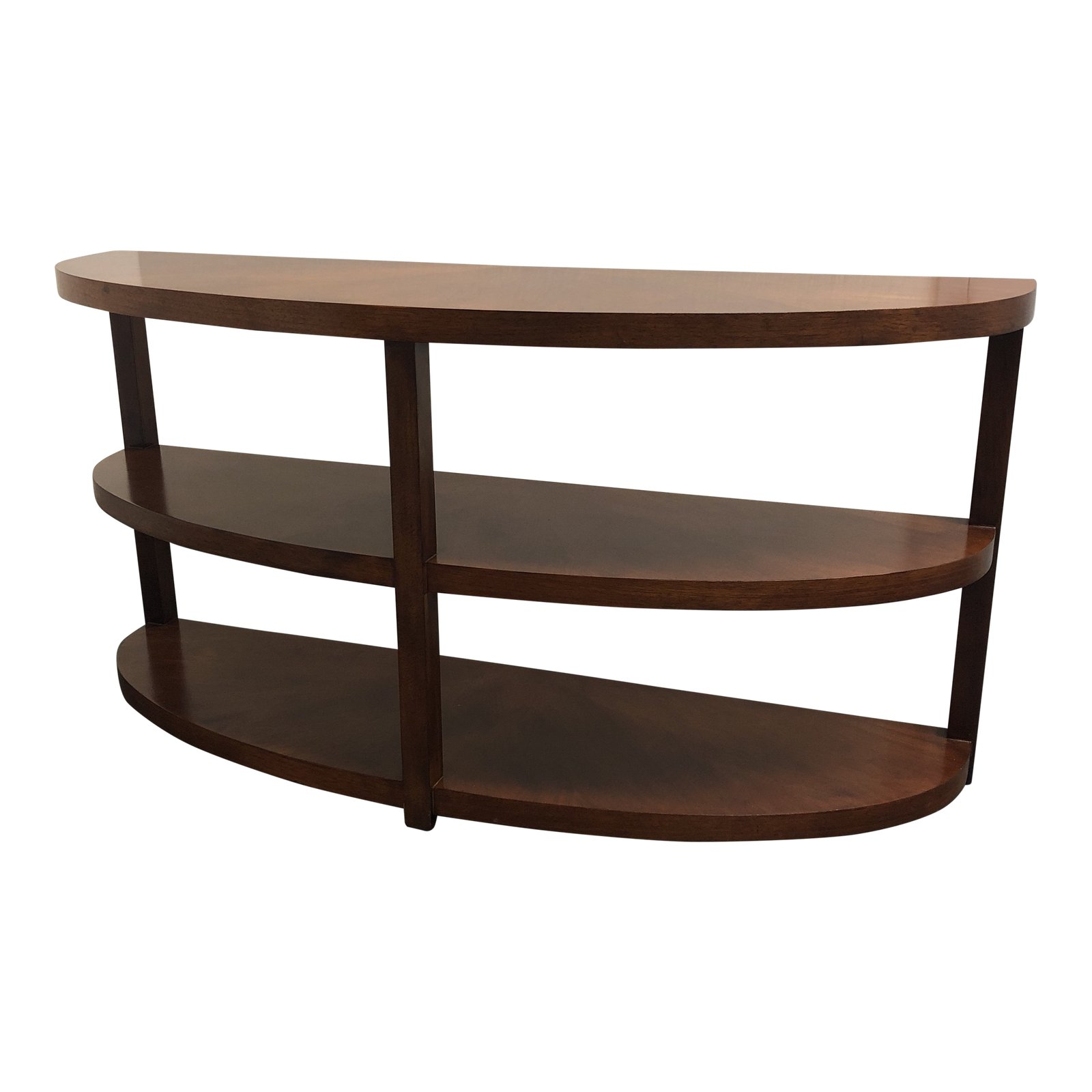 Mid Century Modern Curved Three Tiered Wooden Console Table