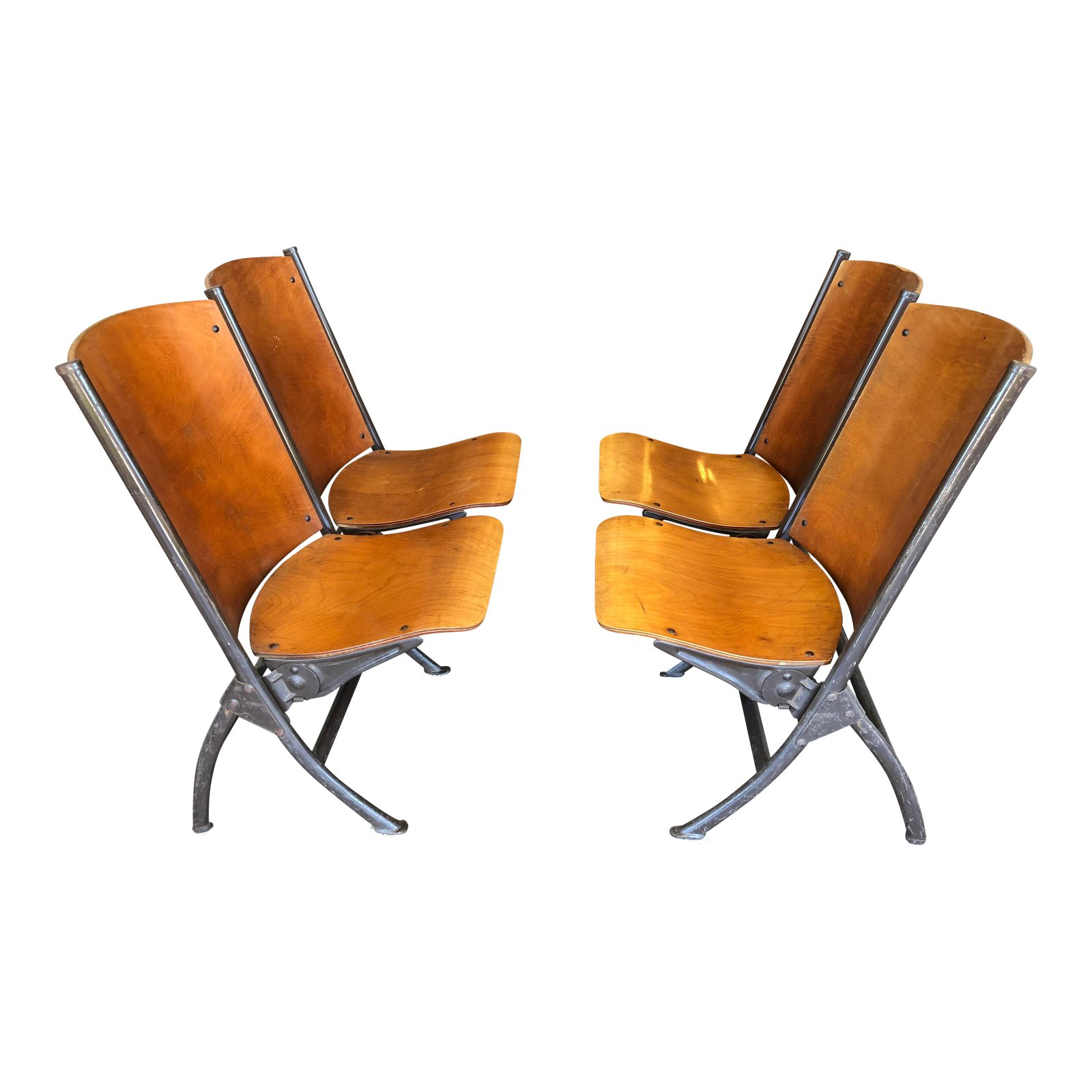 Miraculous Mid Century Sf Mariners Union Twin Theater Seat Bench A Caraccident5 Cool Chair Designs And Ideas Caraccident5Info