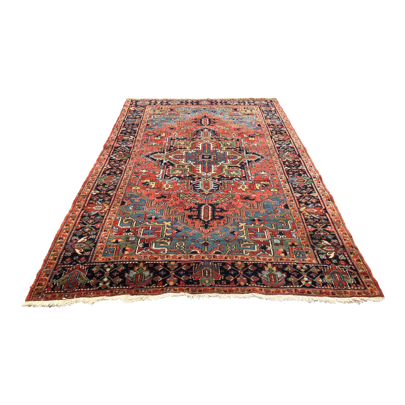 Persian Geometric Red Blue And Black Area Rug 6 7 9 10