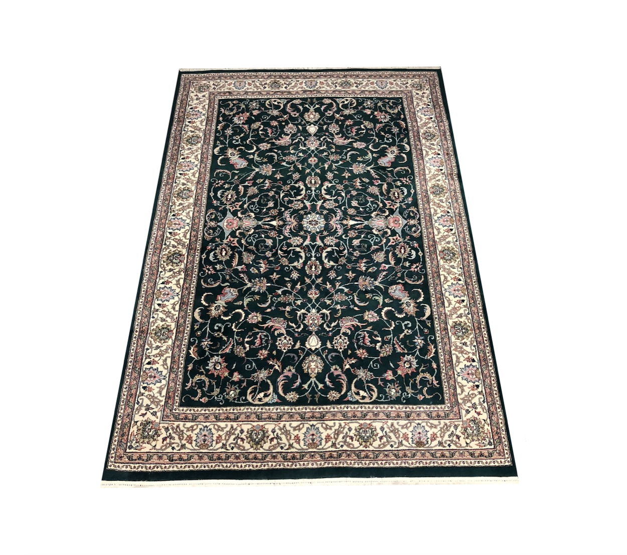 Ornate Emerald Green Floral Wool Area Rug Original Price