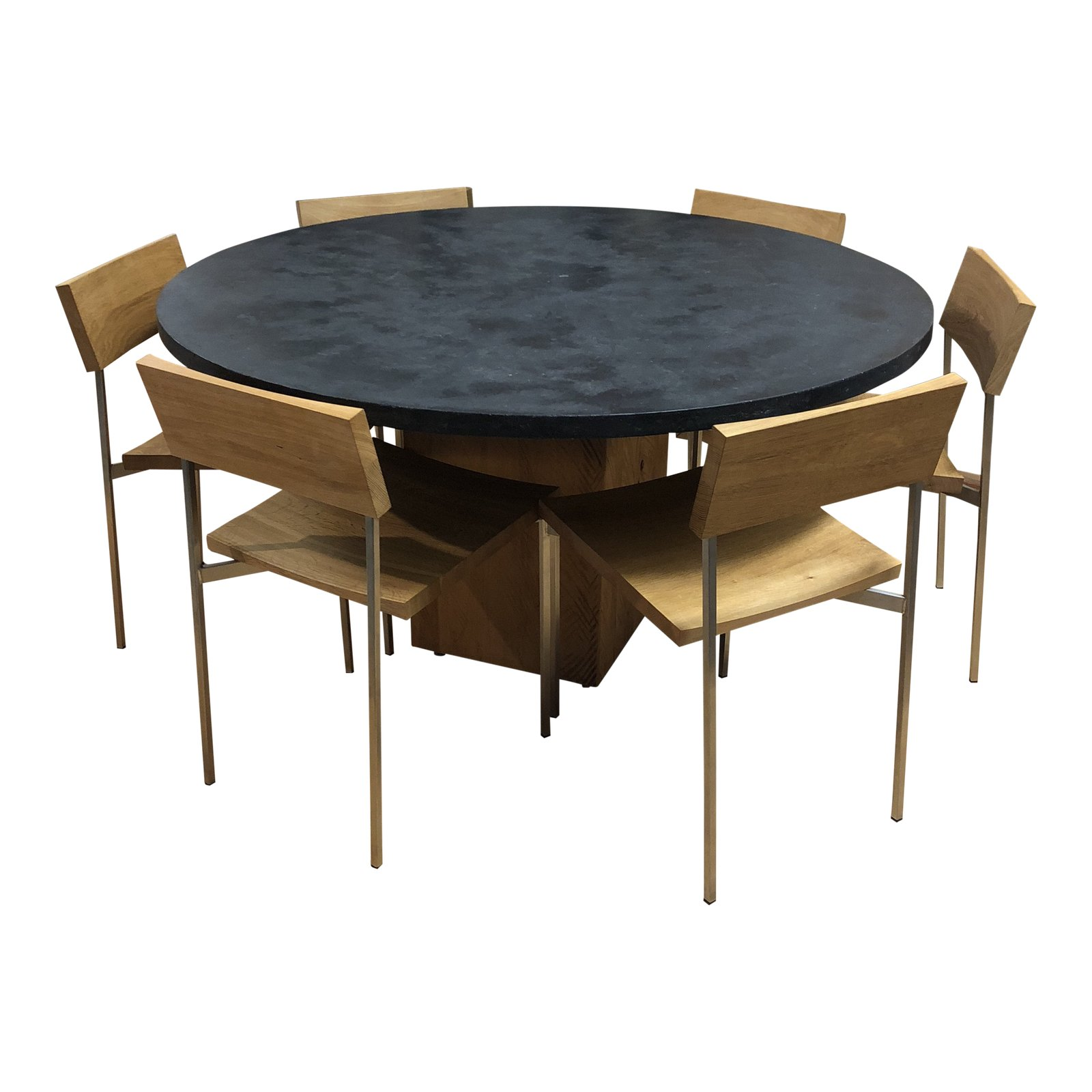 Concrete Wood Stainless Steel Dining Set Original Price