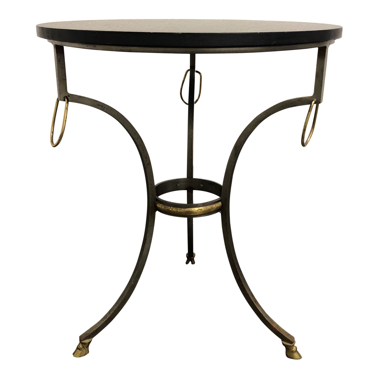 metal base black stone top side table