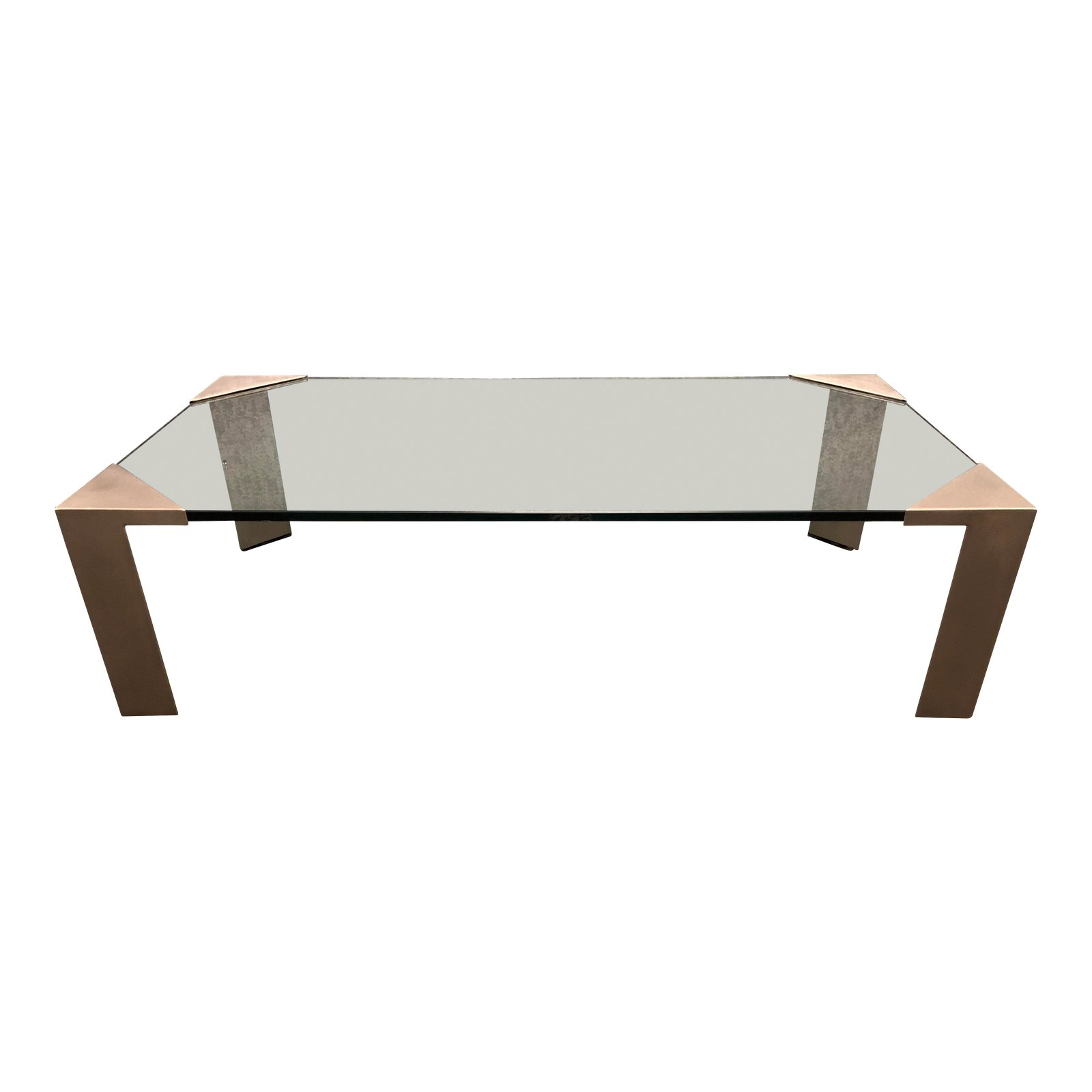 Custom Glass Top + Metal Leg Coffee Table