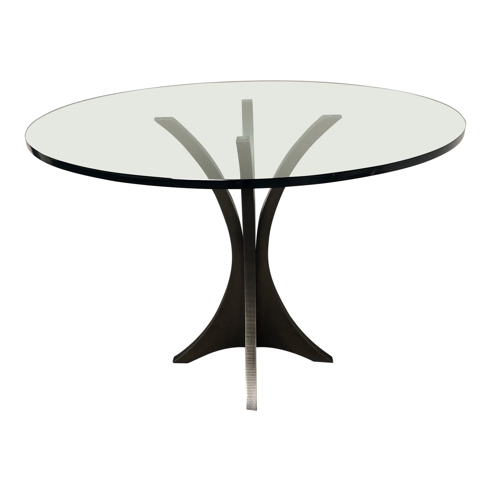 Custom Round Glass Top + Metal Pedestal Base Table