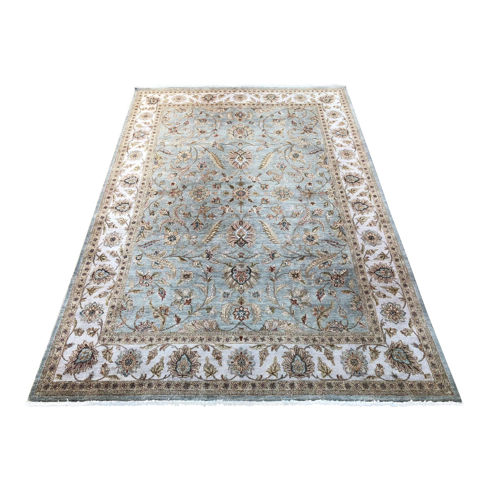 Ethan Allen Aqua And Ivory Persian Style Silk + Wool Rug