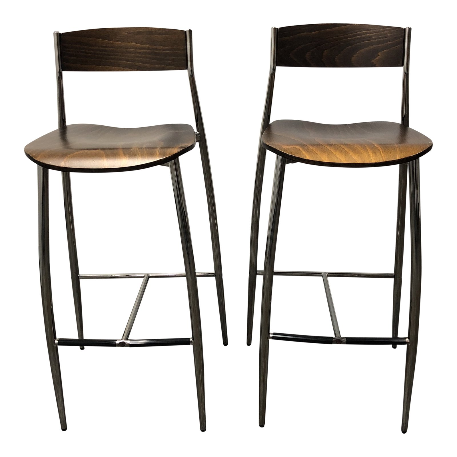 Fantastic Italian Altek Baba Wood Chrome Barstools A Pair Gmtry Best Dining Table And Chair Ideas Images Gmtryco