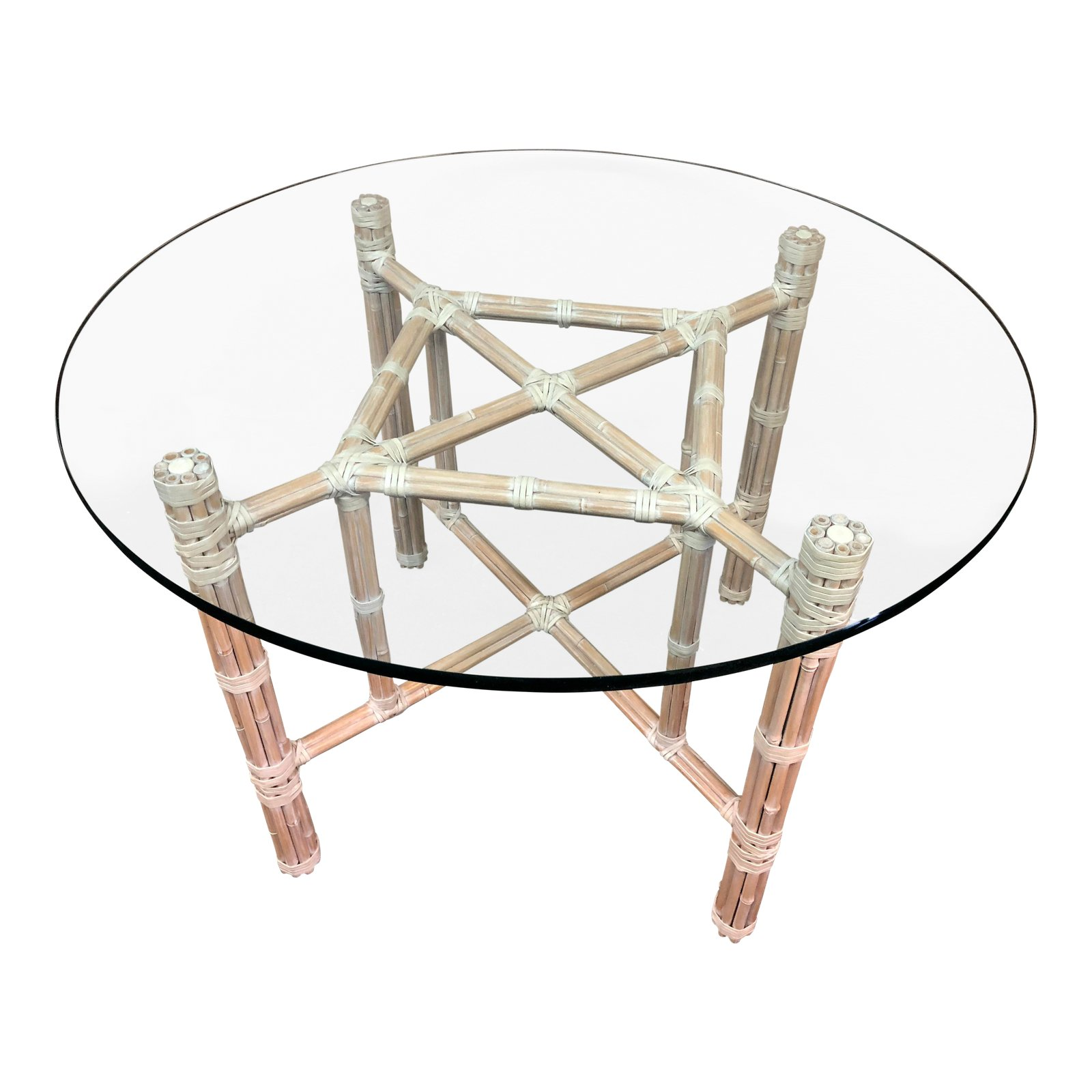Bamboo Table With Design: McGuire Leather Wrapped Bamboo Table