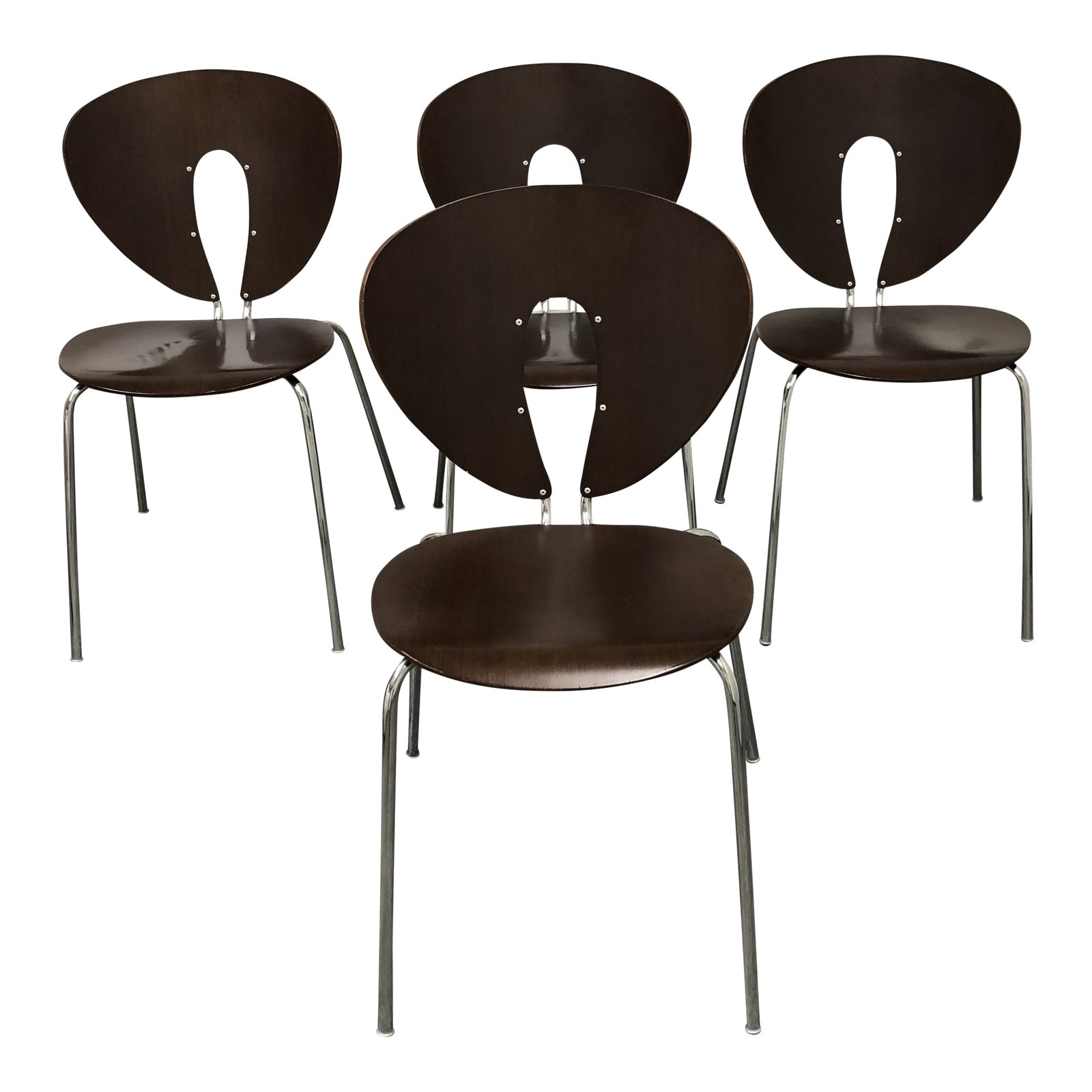 Set Of Four Design Within Reach Walnut Global Chairs