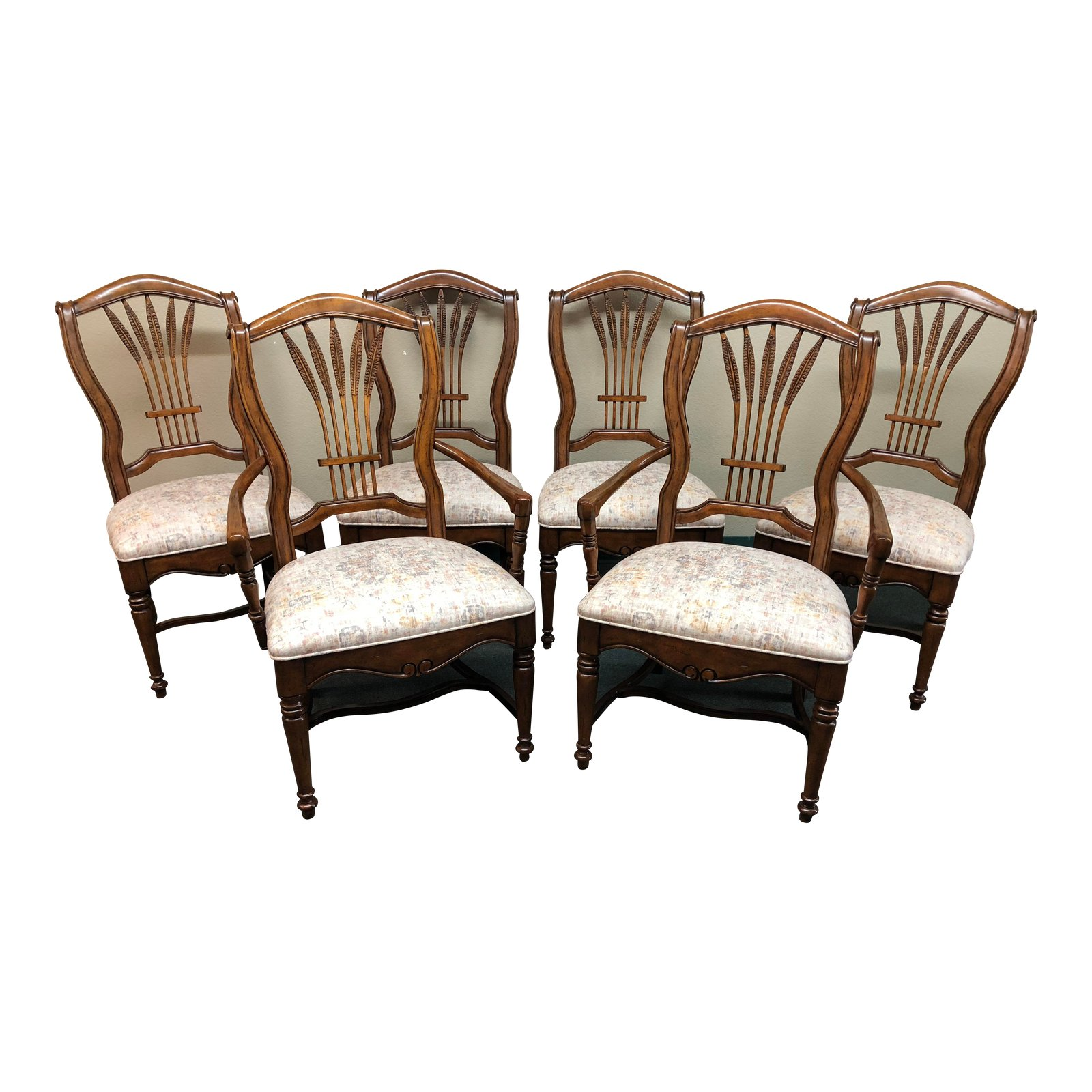 Drexel Heritage Wheat Back Dining Chairs Set Of Six 7679