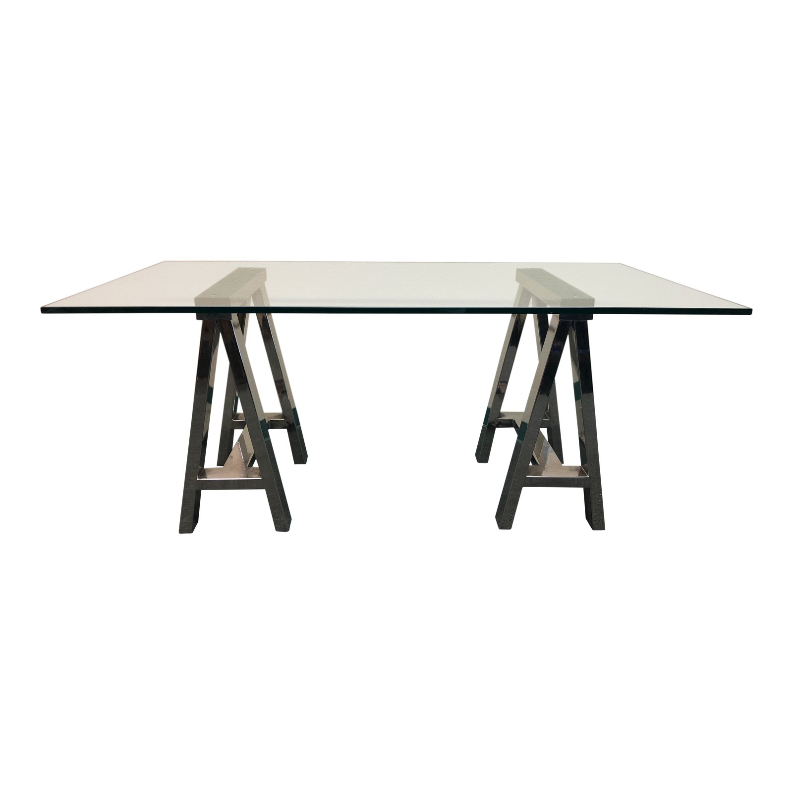 Mason Glass + Polished Nickel Trestle Desk, From Williams