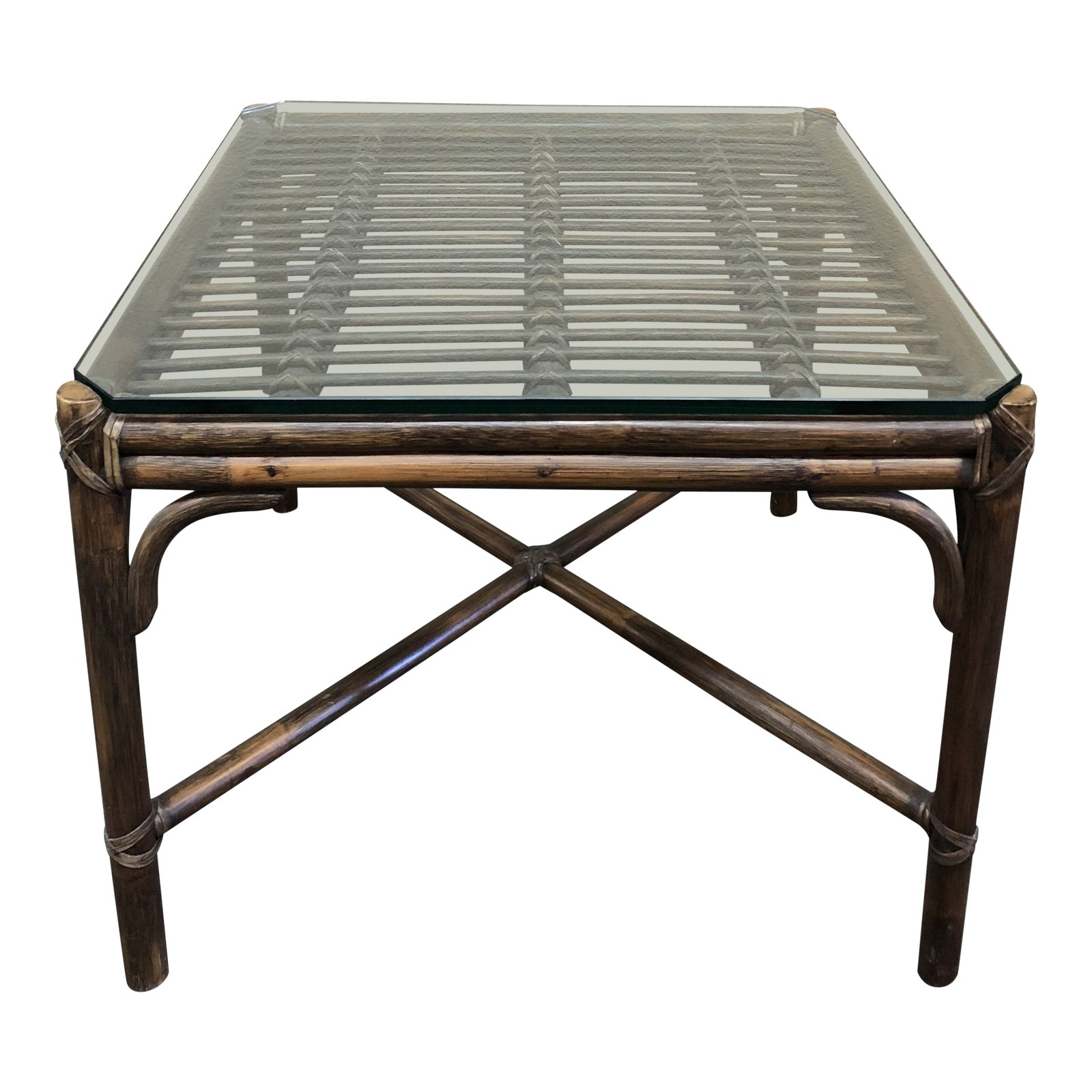 Bamboo Table With Design: McGuire Vintage Bamboo + Glass Accent Table