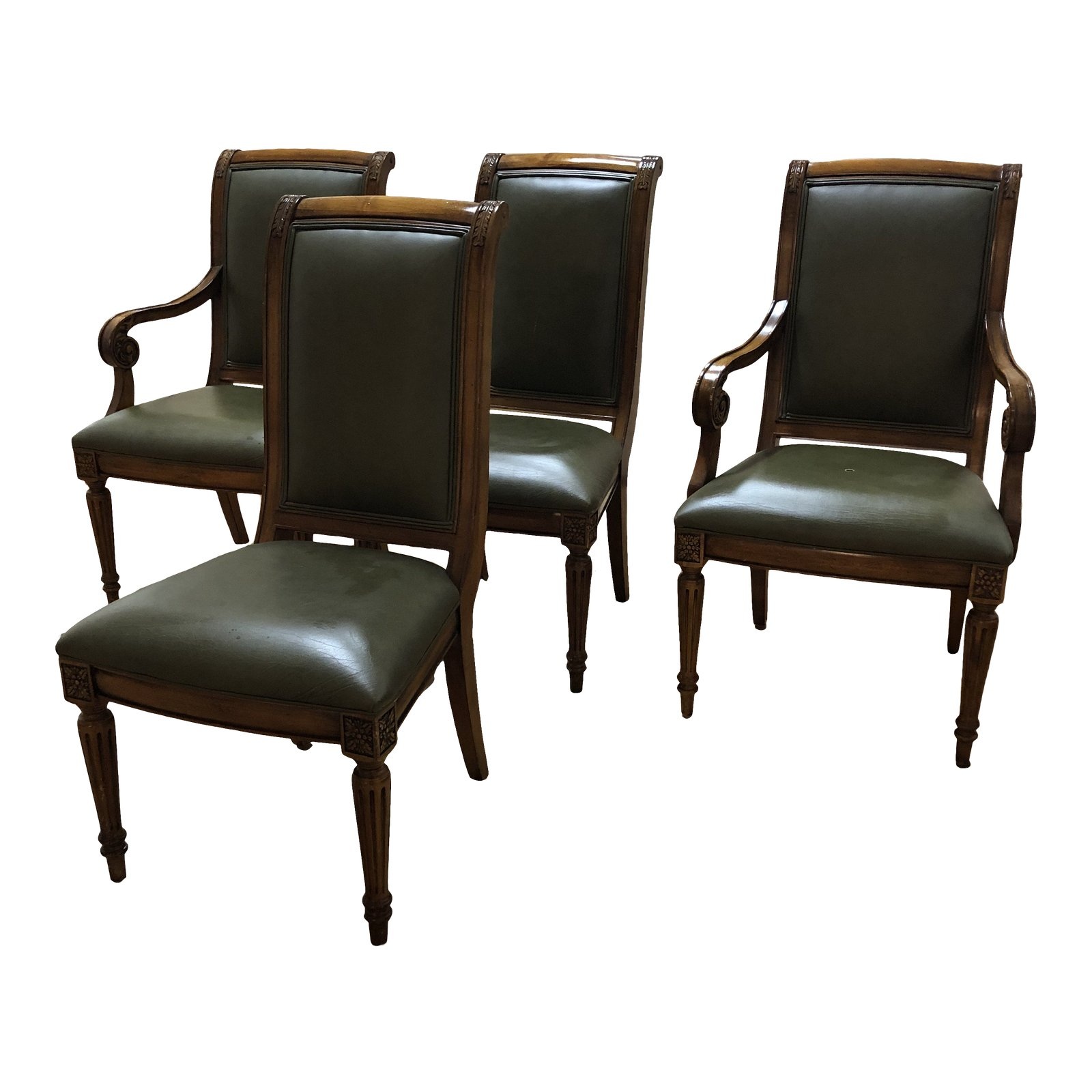 Ethan Allen Leather Adison Chairs Set Of 4 Original Price 2 876
