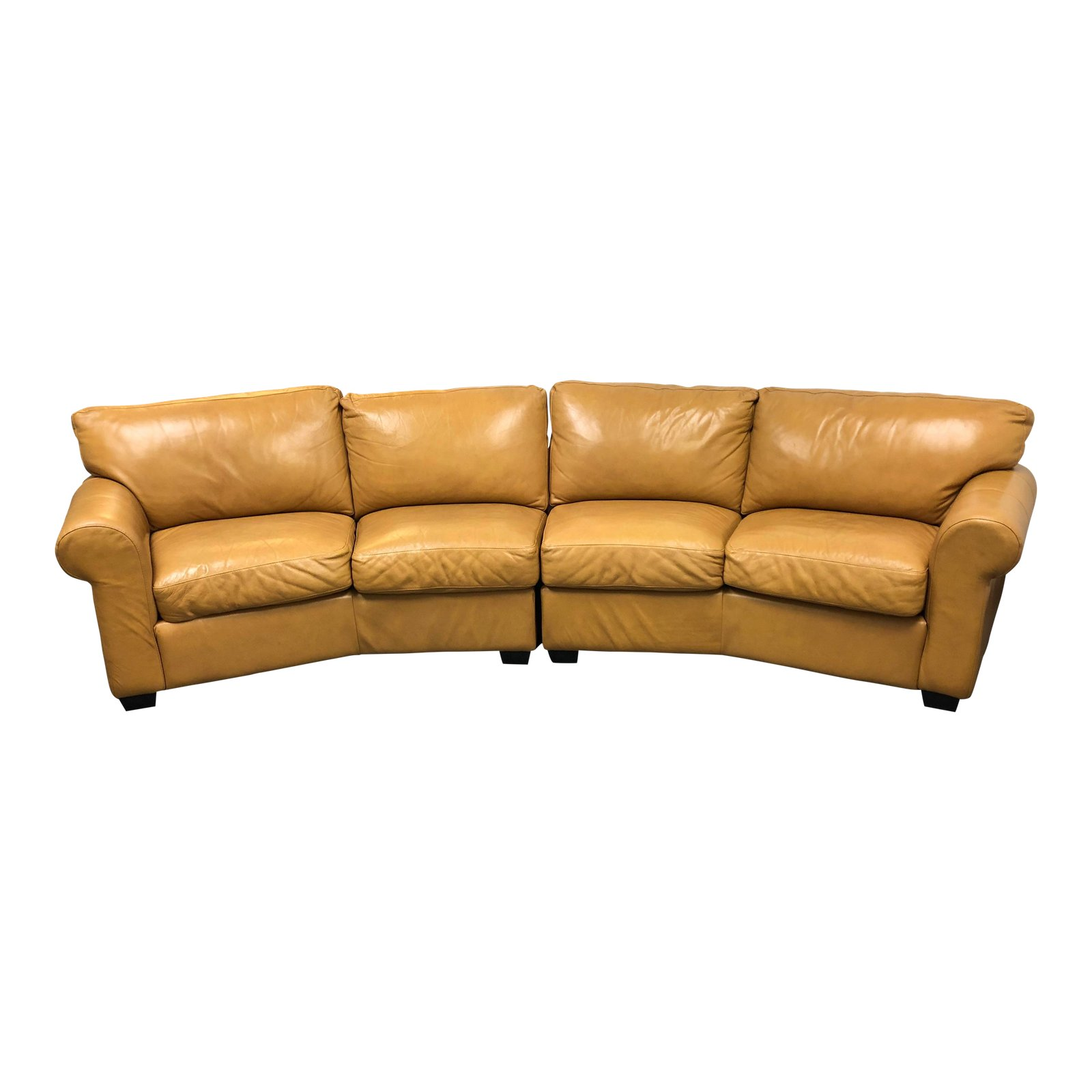 Polo Four Seater Navajo Palomino Leather 2 Pc. Curved Sofa ...