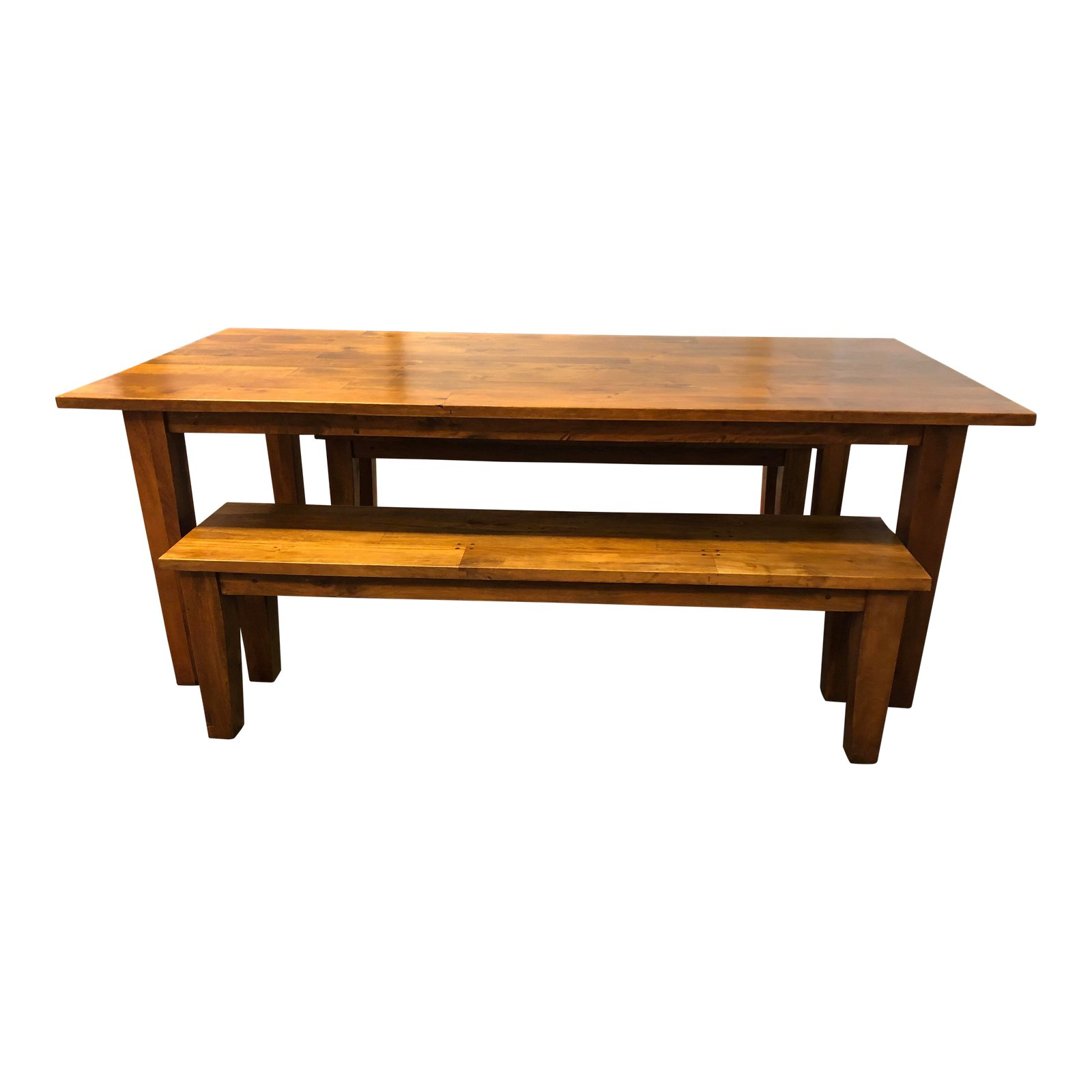 Crate Barrel Basque Honey Dining Table Two Benches Original Price 1 500 Sold