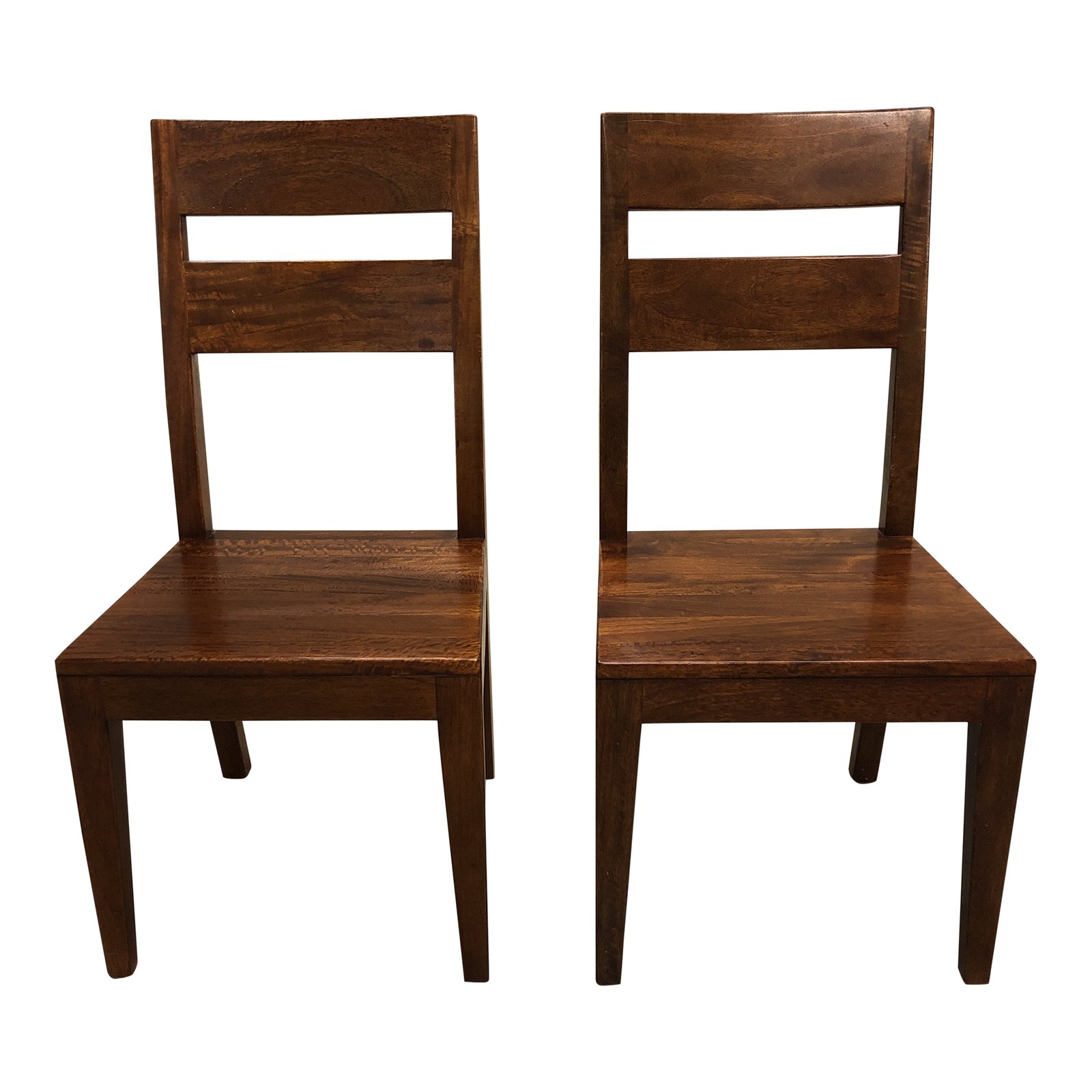 Crate And Barrel Dining Chairs: Pair Of Crate & Barrel Basque Honey Wood Dining Chairs