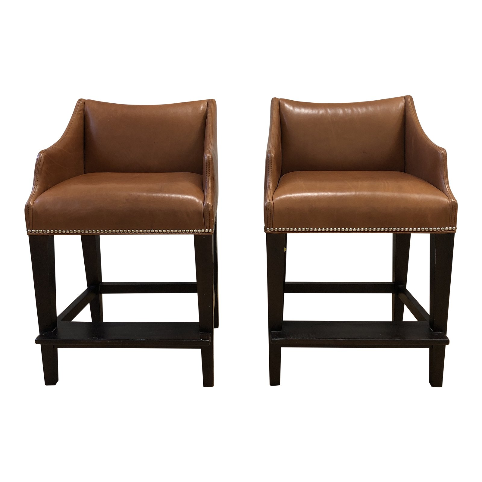 Groovy Pair Of William Sonoma Grant Leather Counter Stools Alphanode Cool Chair Designs And Ideas Alphanodeonline