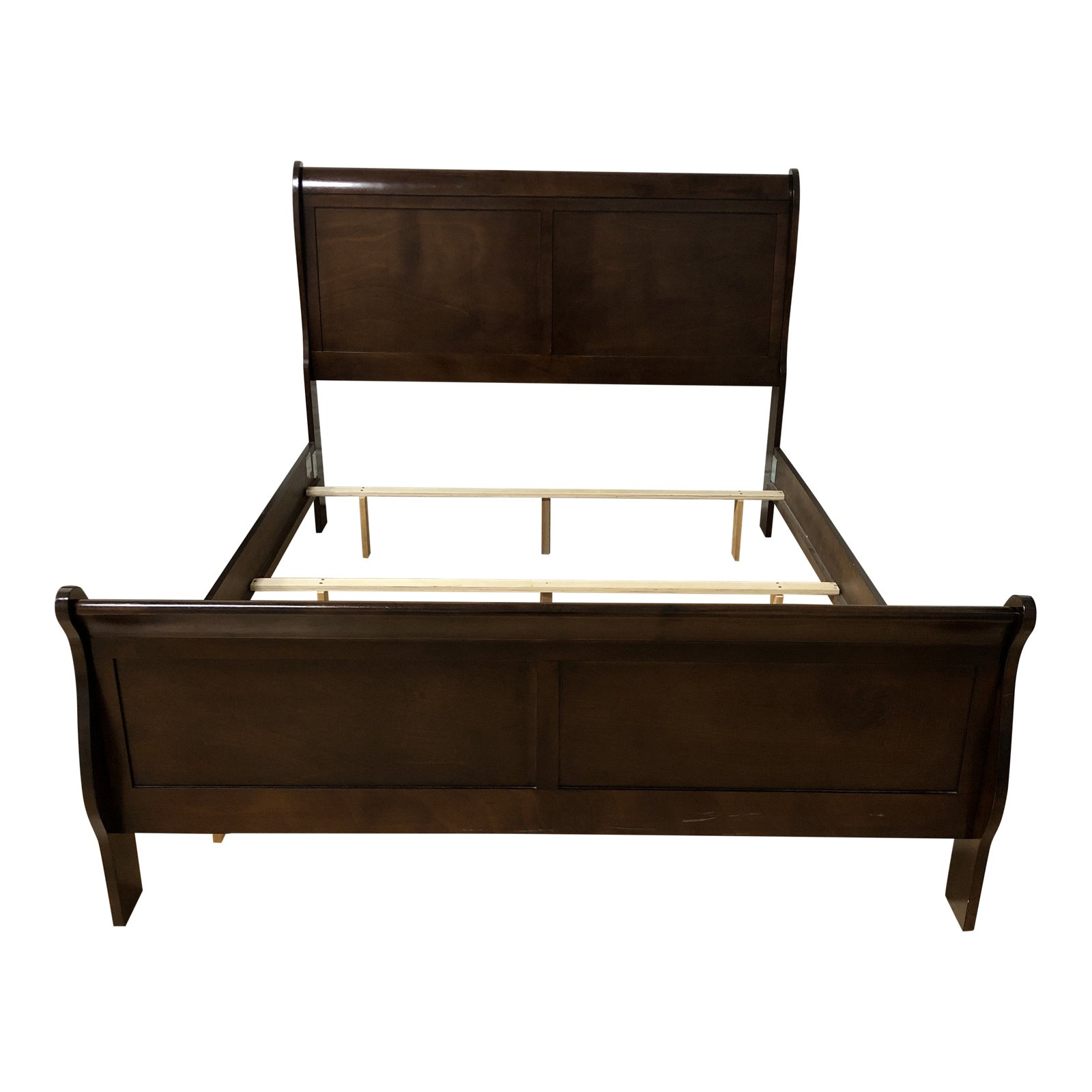 Queen Size Wood Sleigh Bed Frame   Design Plus Gallery